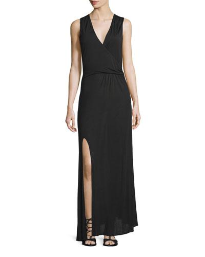 Sleeveless Twist-Front Maxi Dress, Black