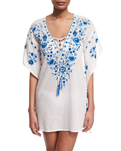 Pebble Floral-Embroidered Caftan Coverup