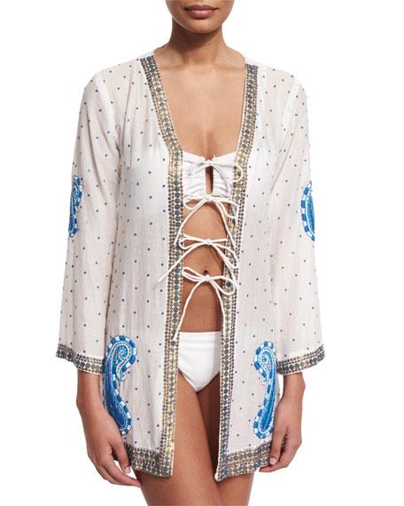 Blue Pebble Embroidered Kimono Coverup