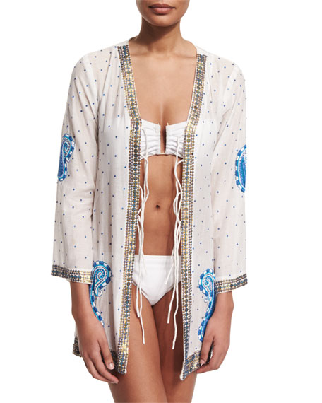 Blue Pebble Embroidered Kimono Coverup