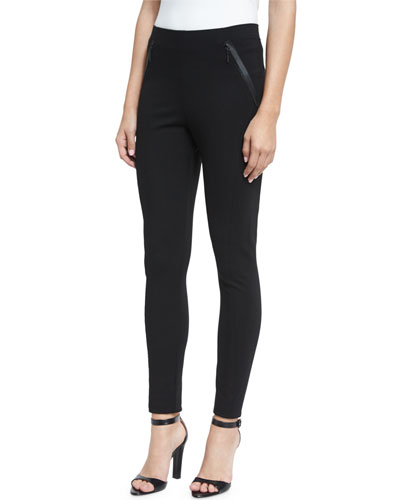 Trina Zip-Pocket Slim-Leg Pants, Black