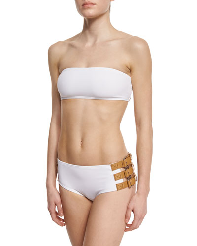 Belt-Trim Two-Piece Swimsuit, White