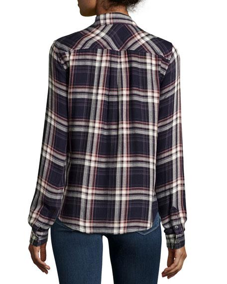 Mya Plaid Button-Front Shirt, Evening Blue/Cream/Ash Rose