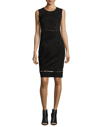 Marta Sleeveless Suede Dress, Black