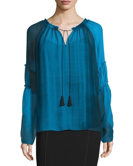Suella Long-Sleeve Crepe Blouse, Waterfall