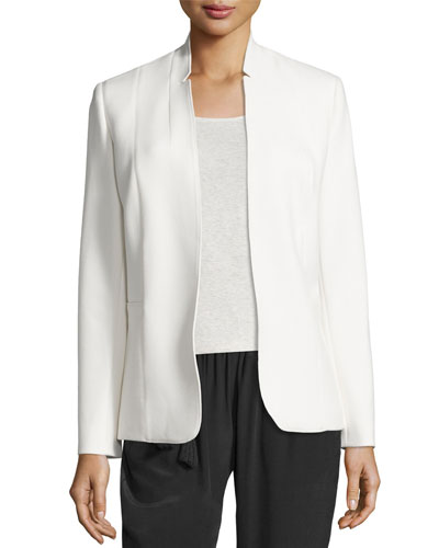 Danette Notched-Collar Stretch Blazer Jacket, Winter White