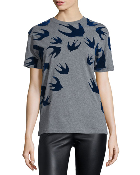 Classic Jersey Tee w/ Swallows, Stone Melange