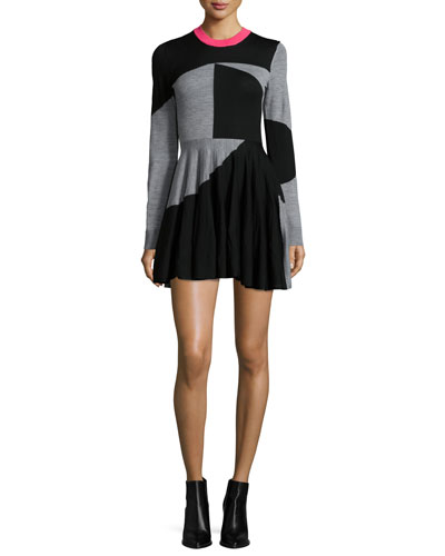 Colorblock Fit-and-Flare Skater Dress, Black/Gray Melange
