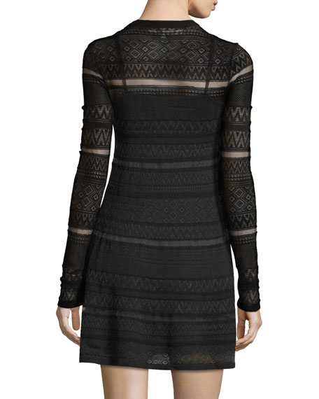 Long-Sleeve Lace Skater Dress, Darkest Black