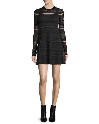 Long-Sleeve Lace Skater Dress, Darkest Black