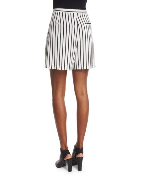 Striped Woven Skort, Black/White