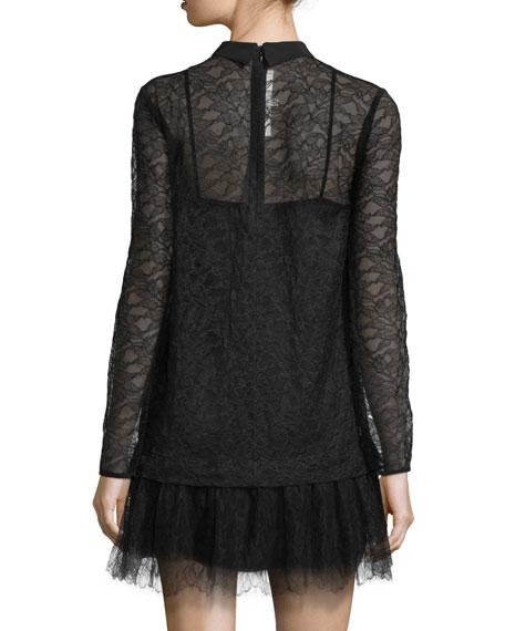 155897c0d7e49 McQ Alexander McQueen Long-Sleeve Lace Shift Dress, Black