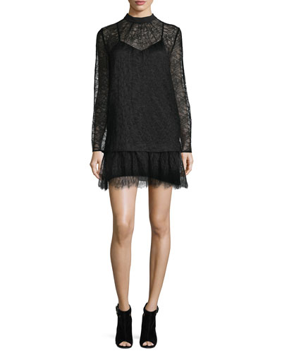Long-Sleeve Lace Shift Dress, Black