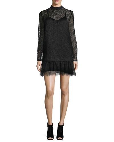 Long-Sleeve Lace Shift Dress, Black