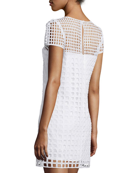 Chloe Square-Eyelet Cotton Mini Dress, White