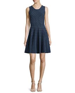 Dot-Print Fit-&-Flare Dress, Navy/Ivory