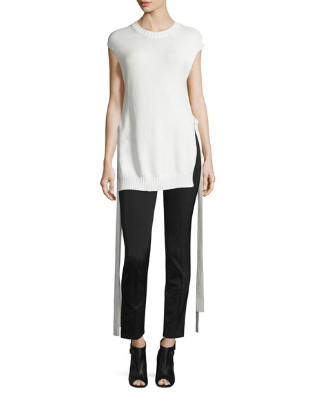 Joseph Cap-Sleeve Knit Ribbon-Trim Top, Off White