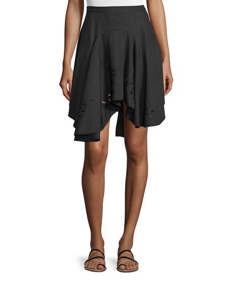 Halston Heritage Flounce Asymmetric-Hem Skirt, Black