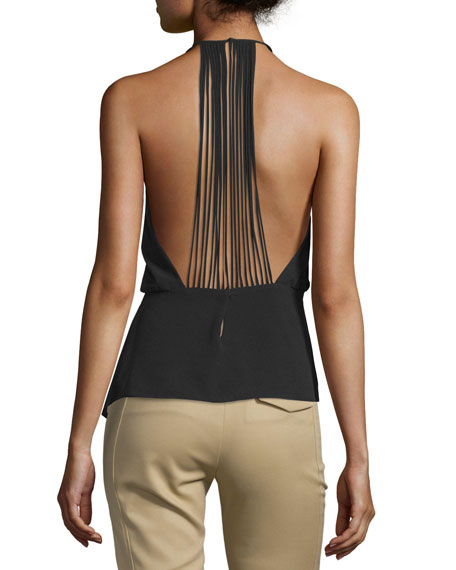 Halter-Neck Strappy-Back Top, Black