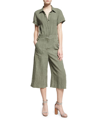Short-Sleeve Button-Front Culotte Jumpsuit, Green