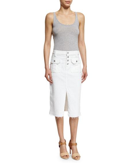 Utility Button-Front Short Denim Skirt, White