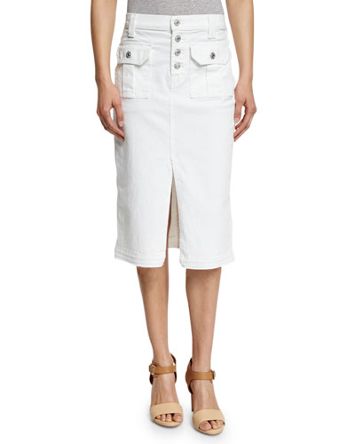 Utility Button-Front Long Denim Skirt, White