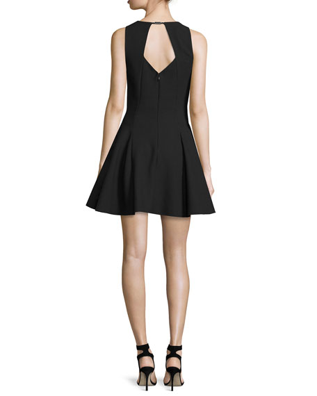 Sleeveless Fit-&-Flare Mini Dress, Black
