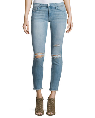 The Stiletto Distressed Skinny Ankle Jeans, Mid-Day Destroy
