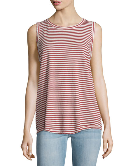 The Cross Back Striped Muscle Tee, Birkin Stripe