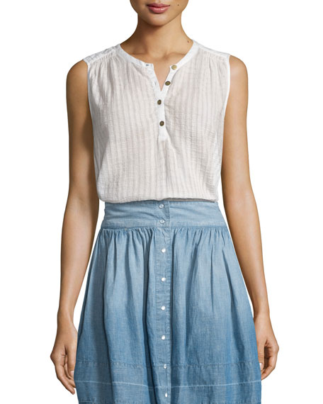 The Camila Sleeveless Henley Top, Dirty White Dashwood Veil
