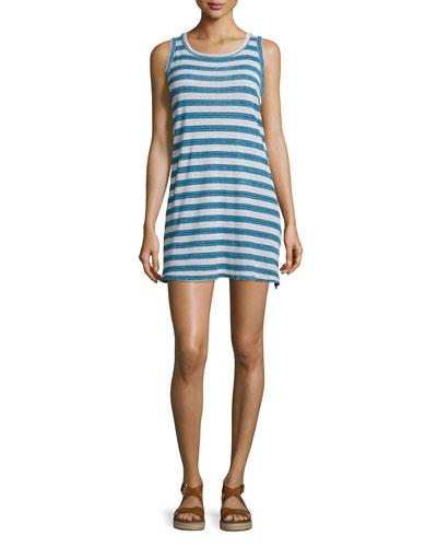 The Muscle Tee Striped Tank Dress, Blue Wayfarer