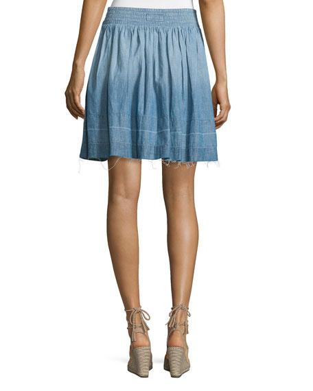 The Flirt Snap-Front Chambray Skirt, Lucky Horse