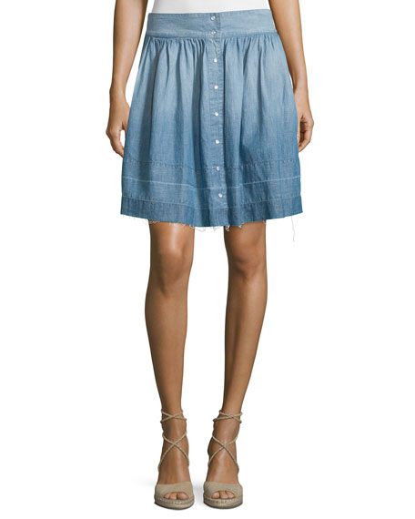 The Flirt Snap-Front Chambray Skirt, Lucky Horse