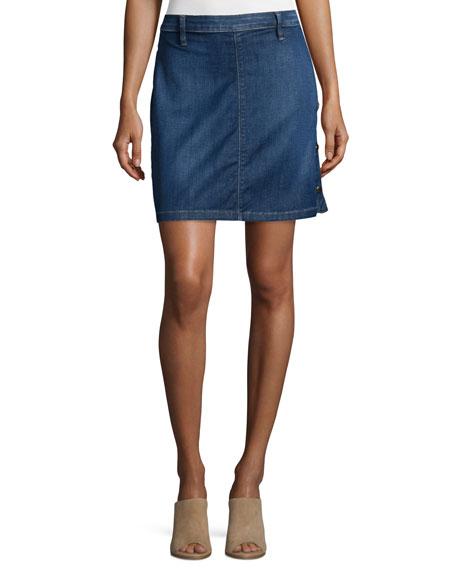 Antibes Side-Button Denim Straight Skirt, Lucia
