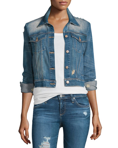 Harlow Distressed Shrunken Denim Jacket, Fiction