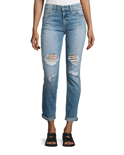 Dre Distressed Rolled-Cuff Jeans, Carter