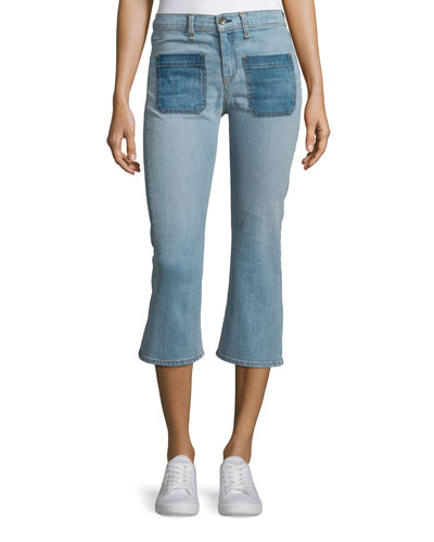 Santa Cruz Flare-Leg Cropped Jeans, Patch Varick