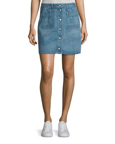 Santa Cruz Snap-Front Denim Miniskirt, Capitol