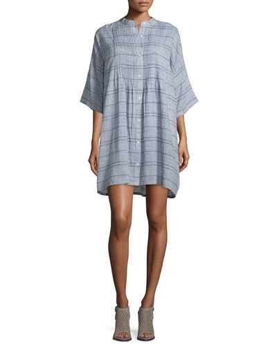 Plaid Pintucked Shirtdress, Blue/White