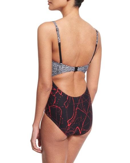 Splash Multi-Print Plunge-Neck One-Piece Swimsuit