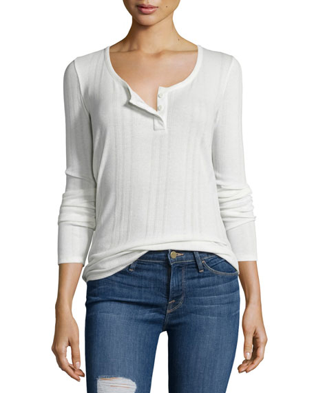 Long-Sleeve Henley Tee, Blanc