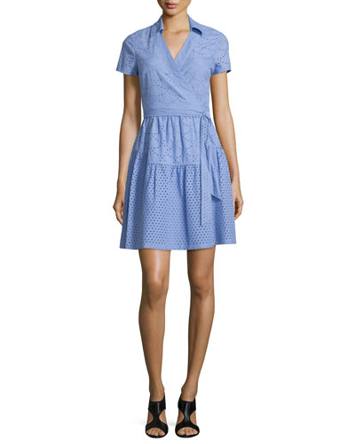 Kayley Two Eyelet Wrap Shirtdress, Periwinkle Blue