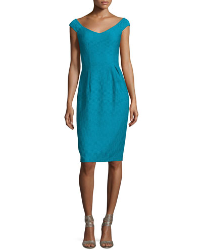 Off-Shoulder V-Neck Textured Sheath Dress