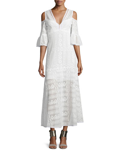 Cold-Shoulder Cotton Lace Midi Dress