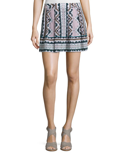 Printed Skort W/Pleats, Multi Colors