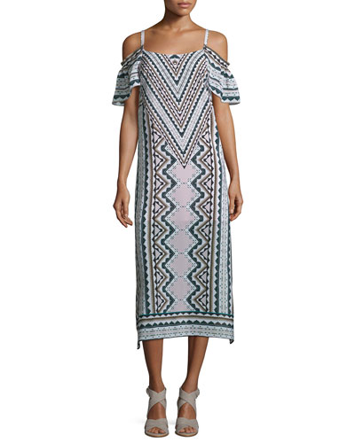 Cold-Shoulder Chevron Midi Dress, Natural/Multi