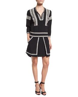 Ignacio 3/4-Sleeve Embroidered Silk Dress, Black