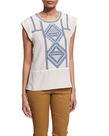 Baja Embroidered Silk Top, Cream