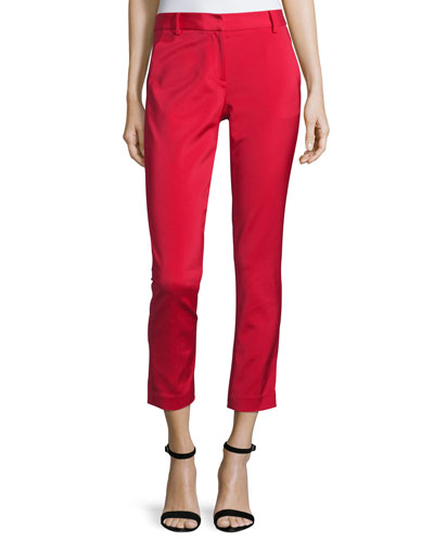 Stretch Faille Cropped Slim-Fit Pants, Cadmium Red