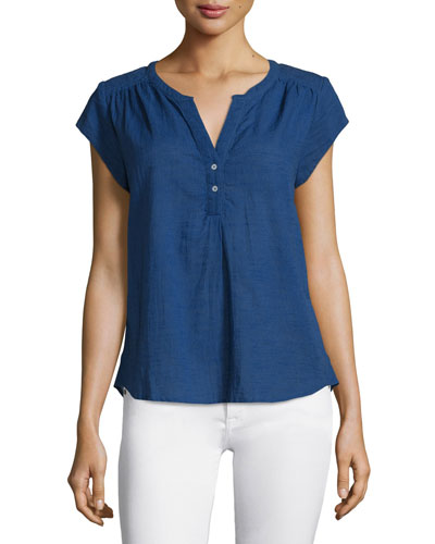 Altadena Yarn-Dyed Short-Sleeve Top